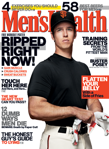 buster posey on mens health magazine cover