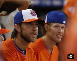 National League All-Star pitchers Madison Bumgarner and Clayton Kershaw watch the Home Run Derby Monday July 15, 2013, at Citi Field in NY. Photo by SF Giants/Andy Kuno